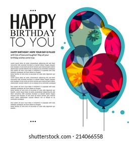Birthday card with color balloons, flowers and birthday text.