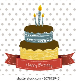 birthday card with colored cake, vector illustration