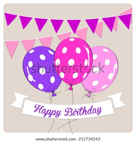 Birthday Card Colorful Balloons Decorations Best Stock Vector