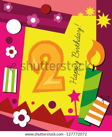 Birthday Card With Colorful Collage Background