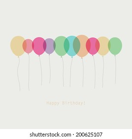 Birthday card with colorful simply transparent  balloons