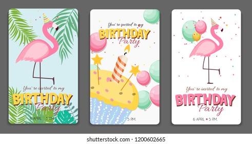 Birthday Card, Congratulation Template Vector Illustration EPS10