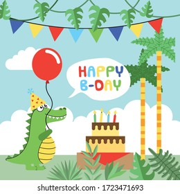 birthday card with crocodile cartoon with hat and balloon between jungle and cake. vector illustration