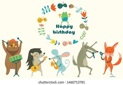 Geburtstagskarte mit süßen Tieren, die Musikinstrumente spielen. Cartoon-Stil.