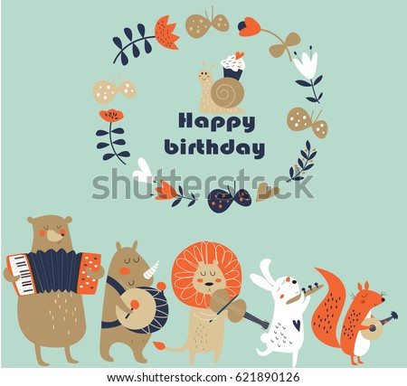 Birthday Card Cute Animals Playing Musical Stock Vector Royalty