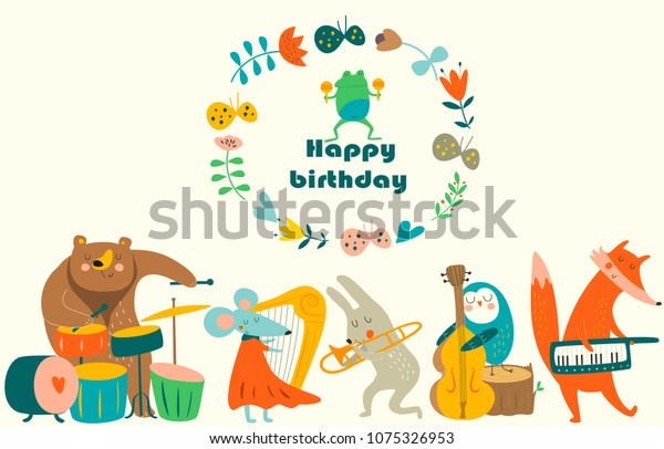 Birthday Card With Cute Animals Playing The Musical Instruments Cartoon Style