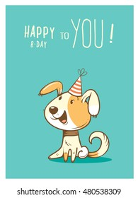 Birthday card  with cute cartoon dog in  party hat. Vector contour colorful image. Little puppy. Funny animal.