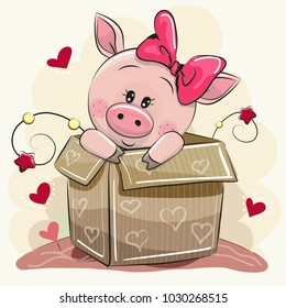 Birthday card with a Cute Cartoon Piggy girl and a box