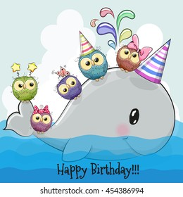 Birthday card cute cartoon whale and five owls on a rainbow background