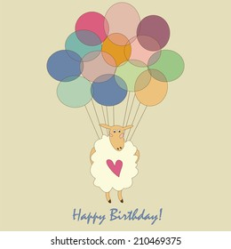 Happy Birthday Postcard Sheep Vector Postcard Stock Vector Royalty