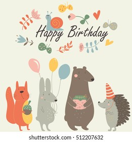Birthday card with cute squirrel, bunny, bear, hedgehog, snail, balloons, butterflies and flowers in cartoon style