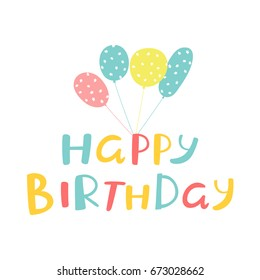 birthday card design with inscription happy birthday and  ballons with stars texture