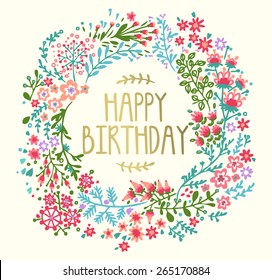 Birthday card with floral wreath