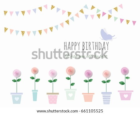 Birthday Card Flowers Bunting Flags Stock Vector Royalty Free