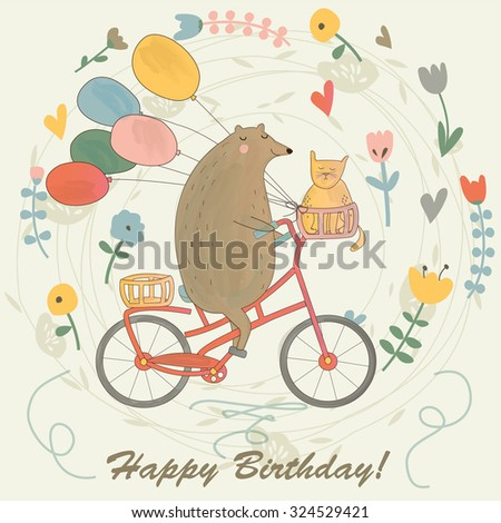 Birthday Card With Funny Bear Riding A Bicycle Cat And Balloons Cartoon Watercolor