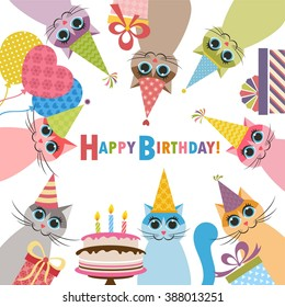Birthday card with funny cats