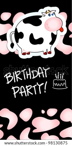 Birthday Card Funny Cow Cartoon Vector Stock Vector Royalty Free