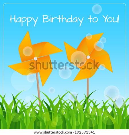 Birthday Card Games Children Two Pinwheels Stock Vector Royalty