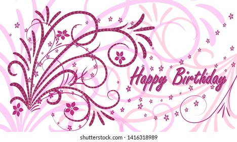 Birthday card. Greeting card in vintage style on a white background. Abstract bush with curly branches. Happy Birthday. Vector illustration