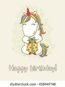 "Birthday card. Happy unicorn with a gift box. Text ""Happy birthday"".  Vector illustraion."
