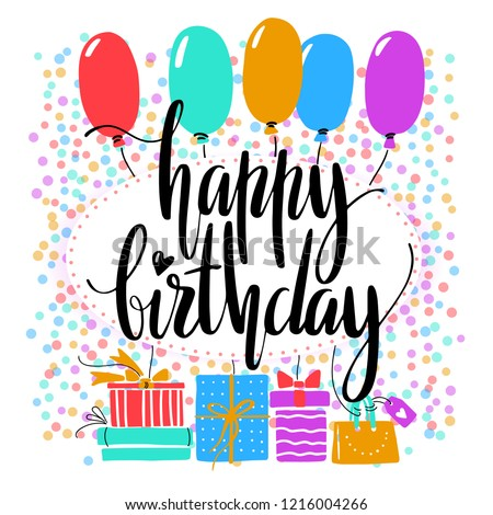 Birthday Card Happy Words On Bright Background Design For Cards Invitations And