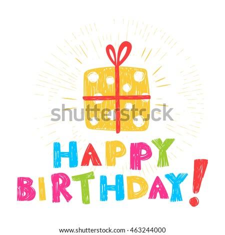 Birthday Card Inscription Happy Birthday Illustration Stock Vector