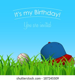 birthday card, invitation to the birthday party with baseball cap, ball, and bat on grass in a sunny day