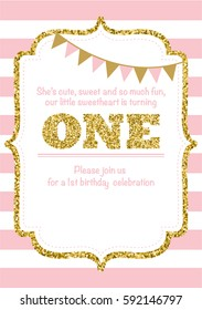 Birthday Card Invitation is turning One pink with stripes gold glitter and flags with text. Vector