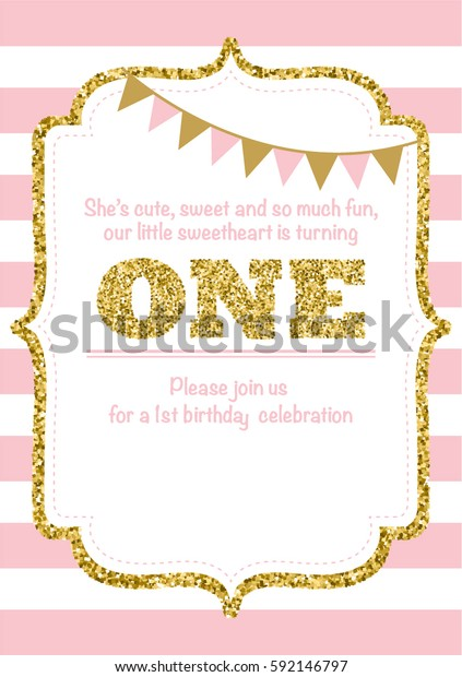 Fantastic Birthday Card Invitation Turning One Pink Stock Vector Royalty Funny Birthday Cards Online Fluifree Goldxyz