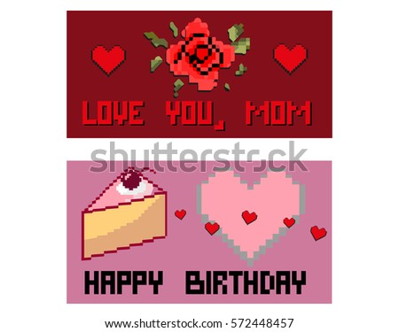Birthday Card Mother Day Card Pixel Stock Vector Royalty Free