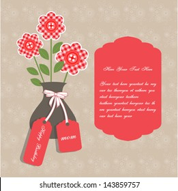 Birthday card for mother with vase and birthday tag. set on a flowers background. Copy space for text.Vector eps10,illustration.Raster also available.
