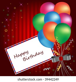 birthday card with multicolored balloons