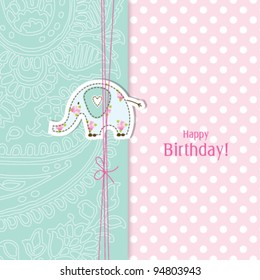 Birthday card Nice Greeting card - template Cute simple Artistic hand drawn illustration - doodle For baby shower, greetings, invitation, mother's day, birthday, party, wedding