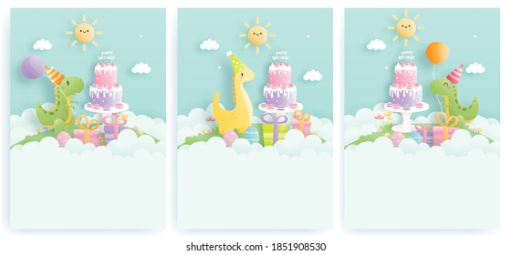 Birthday card set with cute dinosaur and gift boxes, Birthday cake. Paper cut vector illustration.