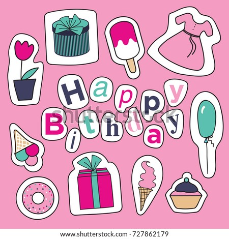 Birthday Card Sketches Cute Wishes Stock Vector Royalty Free