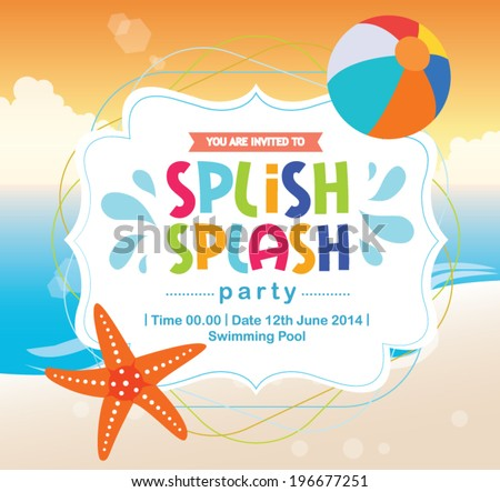 Birthday Card Summer Fun Splash Invitation Beach