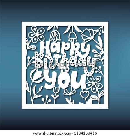 Birthday Card Template For Laser Cutting Pattern Paper Stencil ScrapbookingFile On Machines Cricut And Silhouette Cameo Any