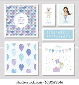 Birthday card templates set. Mermaid and little unicorn cartoon characters. Narrow font and seamless pattern included.