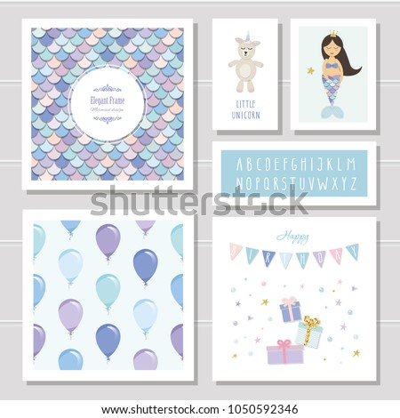 birthday card templates set mermaid little のベクター画像素材