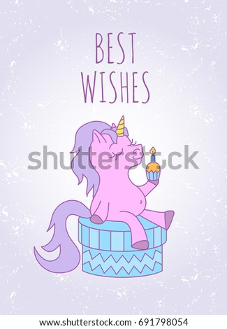 Birthday Card With Text Best Wishes Cute Pink Cartoon Unicorn Violet Tail And Mane