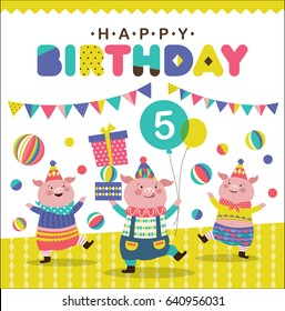 Birthday card with three cute little pigs
