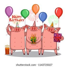 Birthday card with three cutepigs