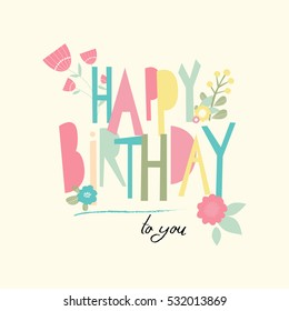 Birthday card with unusual letters. Vector illustration
