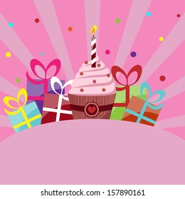 birthday card vector template with cake, gifts and place for inscription