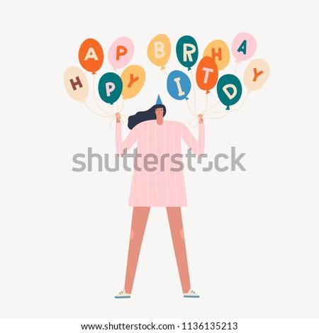 Birthday Card Women Holding Colourful Balloons Stock Vector Royalty