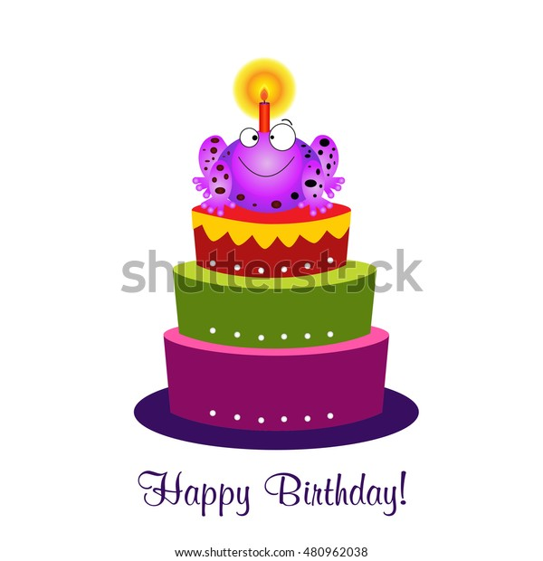 Remarkable Birthday Cardbirthday Cakevector Funny Happy Birthday Stock Vector Personalised Birthday Cards Veneteletsinfo