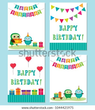 Birthday Cards With Cute Owls Vector Editable Templates For Party Invitation Or Postcard In Blue