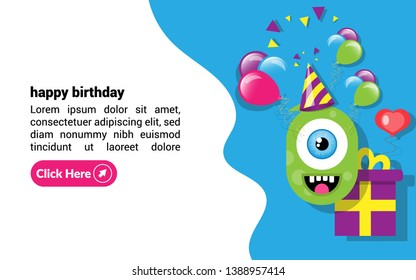 Birthday Cards - cyclops, gift, balloons, confetti.