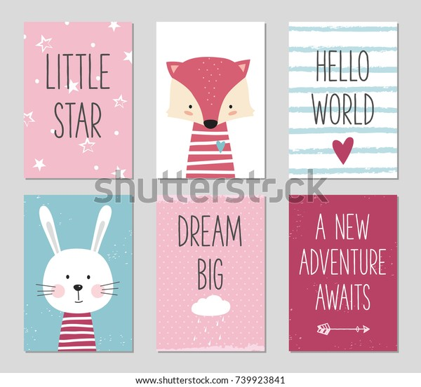 birthday cards quotes cartoon fox bunny stock vector royalty