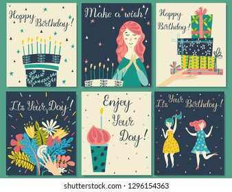 Birthday cards set. Birthday cake with candles and congratulations lettering.